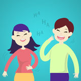 Cute couple laughing together. Vector illustration Royalty Free Stock Photos