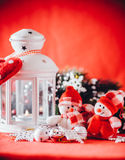 Cute couple of little snowmen is standing near the white fairy lantern with a toy heart on it and decorated fir tree branch. Royalty Free Stock Photography
