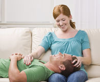 Cute Couple Lounging Stock Photo