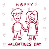 Cute couple in love. Happy Valentines Day greeting card. Lovely couple Vector illustration - eps vector illustration