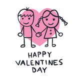 Cute couple in love. Happy Valentines Day greeting card. Lovely couple Vector illustration - eps stock illustration