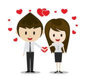 Cute couple in love holding hands, cartoon characters  Stock Images