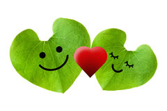 Cute couple in love with red heart, isolated with clipping paths Stock Images