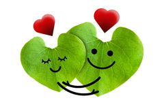 Cute couple in love with red heart, isolated with  Royalty Free Stock Photography