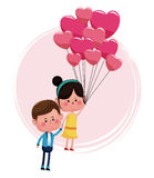 Cute couple loving with pink balloons heart shaped Stock Photo
