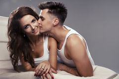 Cute couple lying Royalty Free Stock Image