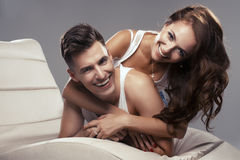 Cute couple lying Royalty Free Stock Images