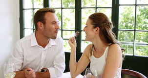 Cute couple making each other taste their deserts stock video