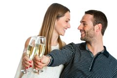Cute couple making a toast with champagne. Royalty Free Stock Photos