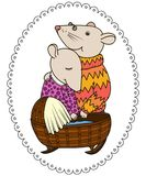 Cute couple of mice with a newborn. illustration stock illustration
