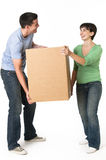 Cute Couple Moving Box Stock Photo