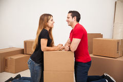 Cute couple moving in together Stock Photography