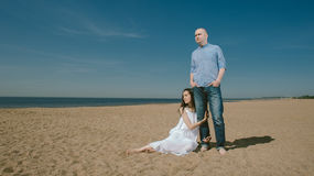 Cute Couple Near the Sea  Family  and Relationship Concept Royalty Free Stock Image