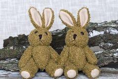 Stuffed Animals Vintage Easter Bunnies stock photos