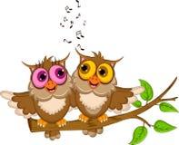 Cute couple owl cartoon singing. Illustration of cute couple owl cartoon singing vector illustration