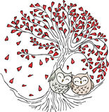 Cute couple owls on love tree. Scalable vectorial image representing a cute couple owls on love tree, isolated on white royalty free illustration