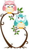 Cute Couple Owls On The Tree vector illustration