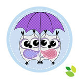 Cute couple of owls with umbrella Stock Photos