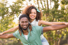 Cute couple in the park Royalty Free Stock Image