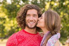 Cute couple in the park Royalty Free Stock Photos