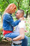 Cute couple in the park on a sunny day Stock Photo