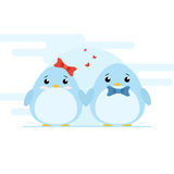 Cute couple of penguins on blue font. stock illustration