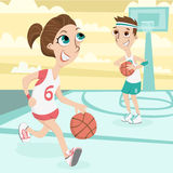 Cute couple play basletball Royalty Free Stock Images