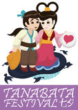 Cute Couple Poster for Tanabata Festival, Vector Illustration Stock Photos