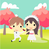 Cute couple propose in weddind's suit. Propose at nature.cute couple in wedding's suit Royalty Free Stock Photography
