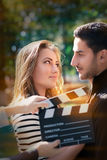 Cute Couple Ready for a Shoot Stock Photo