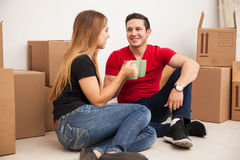 Cute couple relocating Stock Image
