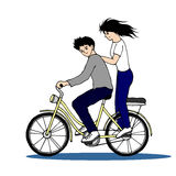 Cute couple riding bicycle hand drawn vector illustration design Stock Image
