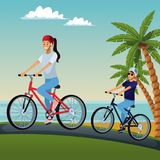 Couple riding bikes at beach. Cute couple riding bikes at beach vector illustration graphic design Royalty Free Stock Photo