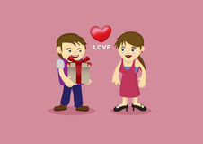 Cute Couple in Romantic Love Relationship Vector Cartoon Royalty Free Stock Images