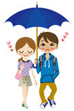 Cute Couple share one umbrella Stock Photos