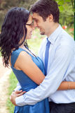 Cute couple sharing a romantic intimate moment Stock Photography
