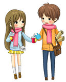 Cute couple sharing their drinks in winter (vector. Cute couple sharing their drinks in winter in white background, create by vector stock illustration