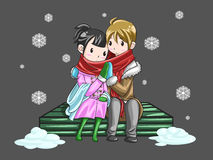 Cute couple sharing their warmth in romantic winte. Cute couple sharing their warmth by hands in romantic winter night, create by vector stock illustration