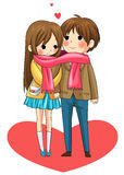 Cute couple sharing their warmth in winter vector Royalty Free Stock Photos
