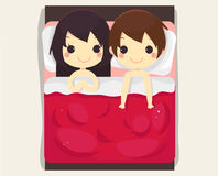 Cute couple sleep bed.beautiful vector Royalty Free Stock Photos