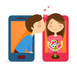 Cute couple in smartphone for Valentine's Day. Stock Photos