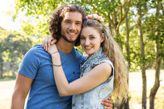 Cute couple smiling at camera royalty free stock photos