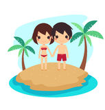 Cute couple swimming suit sand ocean isolated Stock Photography