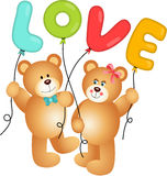 Cute Couple of Teddy Bear holding Love Balloon Royalty Free Stock Images