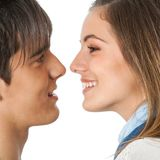 Cute couple about to kiss. Royalty Free Stock Images