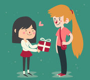 Cute Couple Trading Gifts Stock Photography