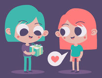 Cute Couple Trading a Present Stock Photography