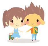 Cute couple travel bag.tourist  illustration Stock Images