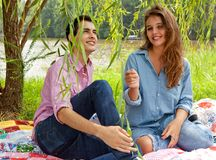 Cute Couple Under Willow Tree Royalty Free Stock Photography