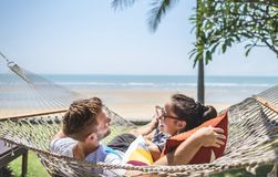 A cute couple on vacation royalty free stock photos